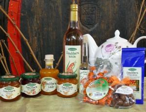 Auswahl aus der Sanddorn-Produktpalette auf Gut Pesterwitz