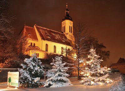 Pesterwitzer Kirche im Schnee